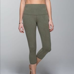 Lululemon Wunder Under Crop High Rise Cotton Green